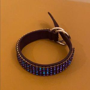 Swarovski purple blue Crystal leather bracelet